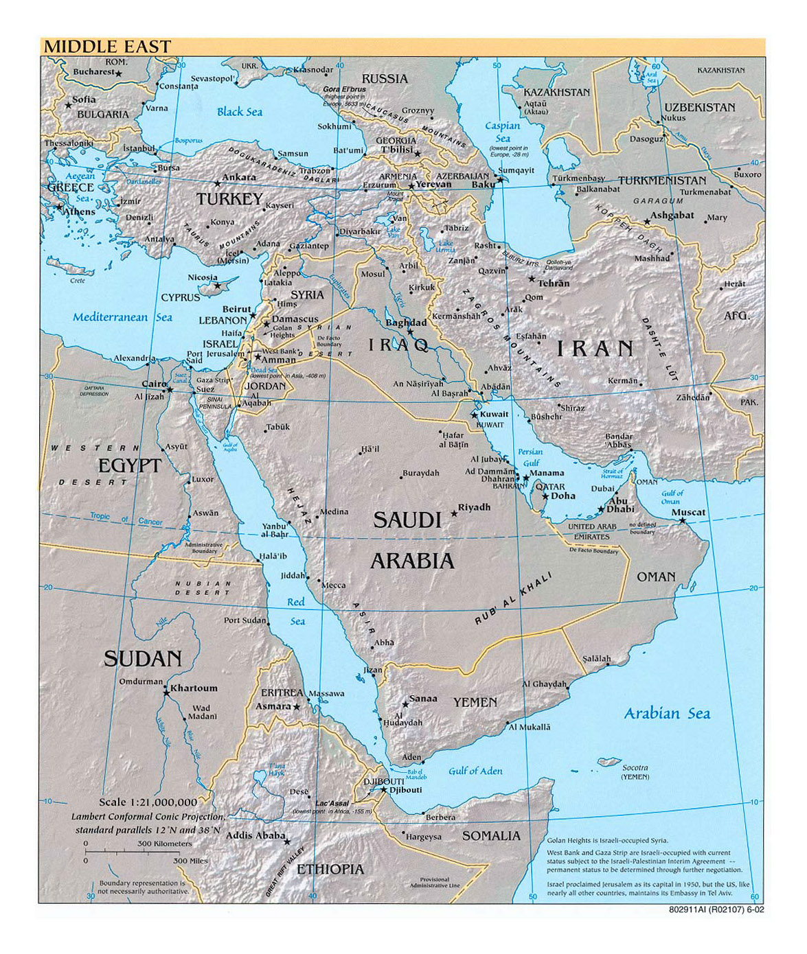 Detailed political map of the Middle East with relief, major cities ...