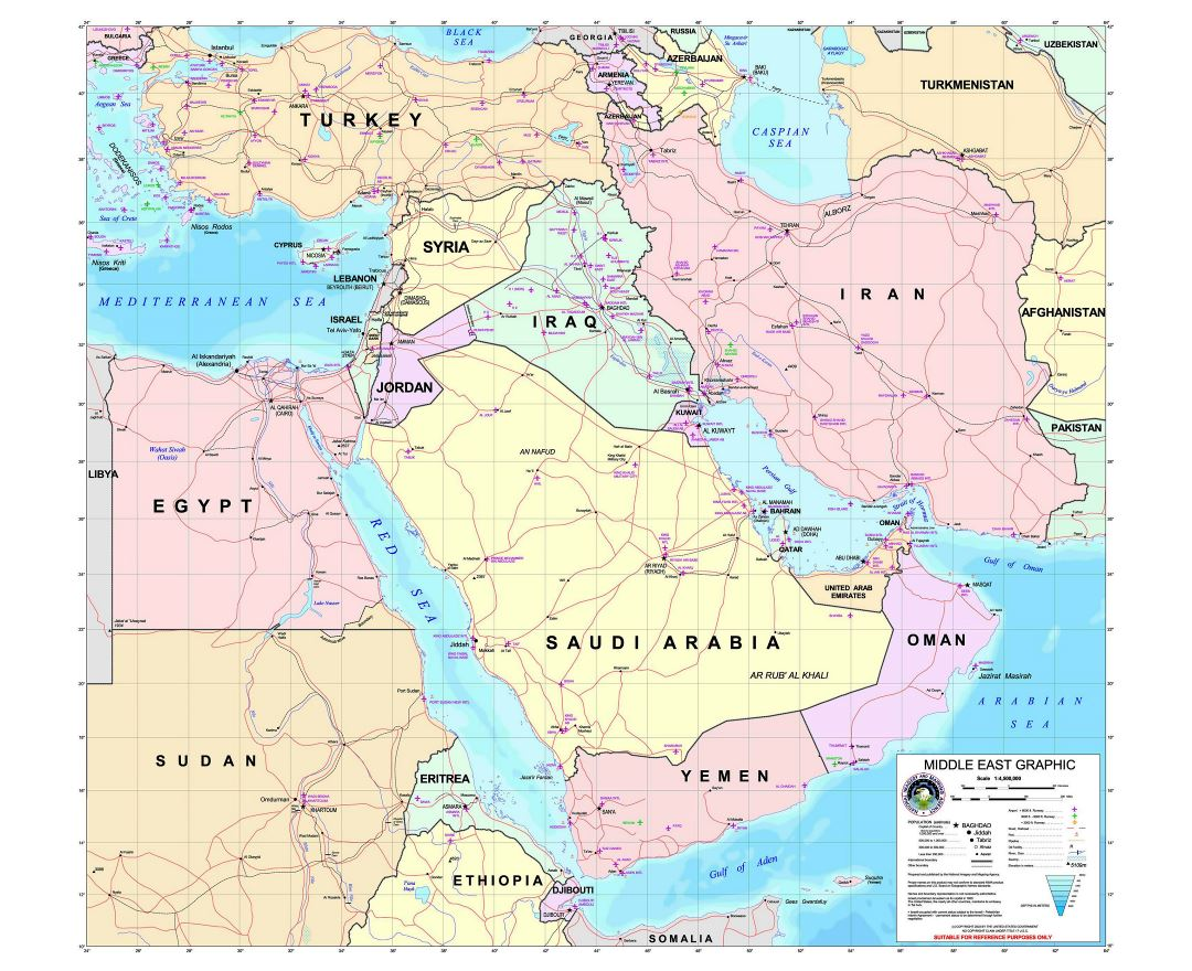 Large detailed graphic map of the Middle East with roads and all airports - 2003