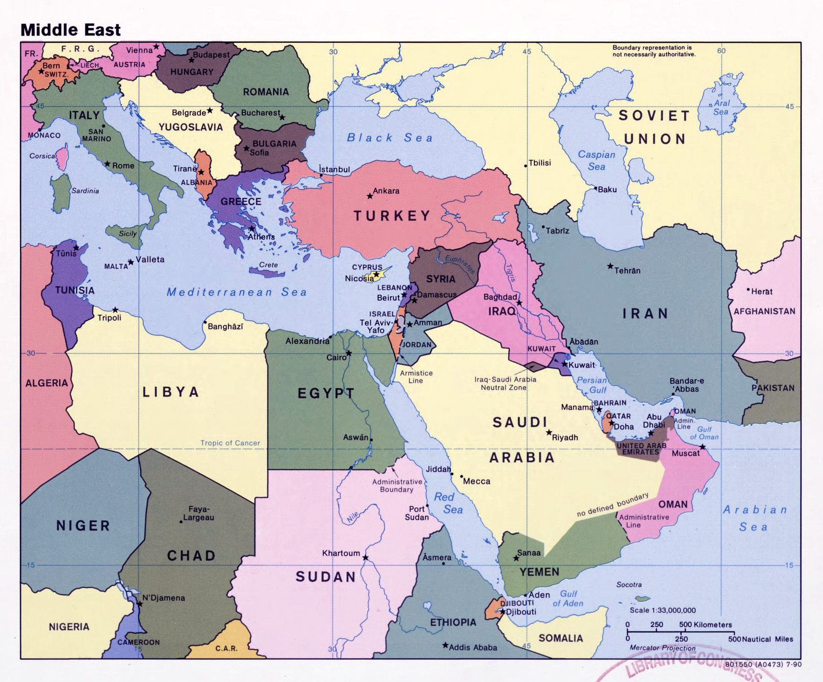 large detailed political map of the middle east with capitals and major cities 1990
