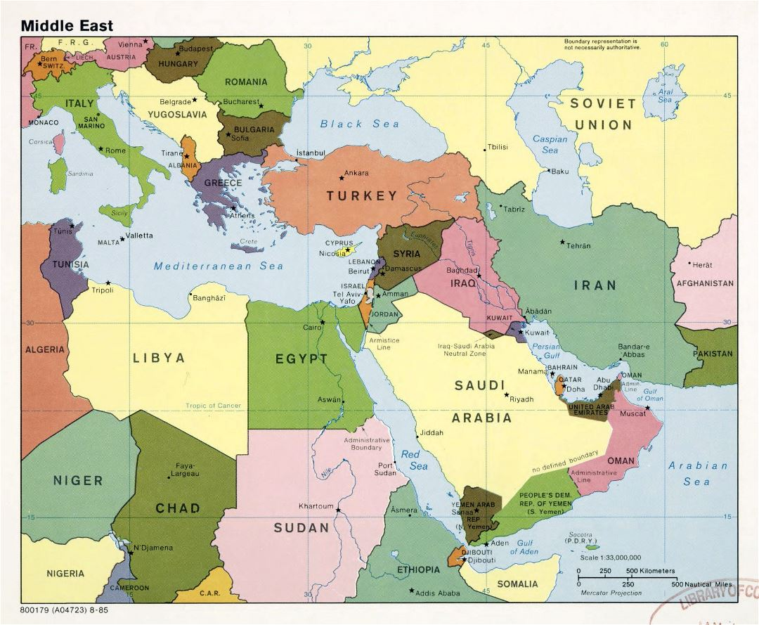 Large detailed political map of the Middle East with major cities and capitals - 1985