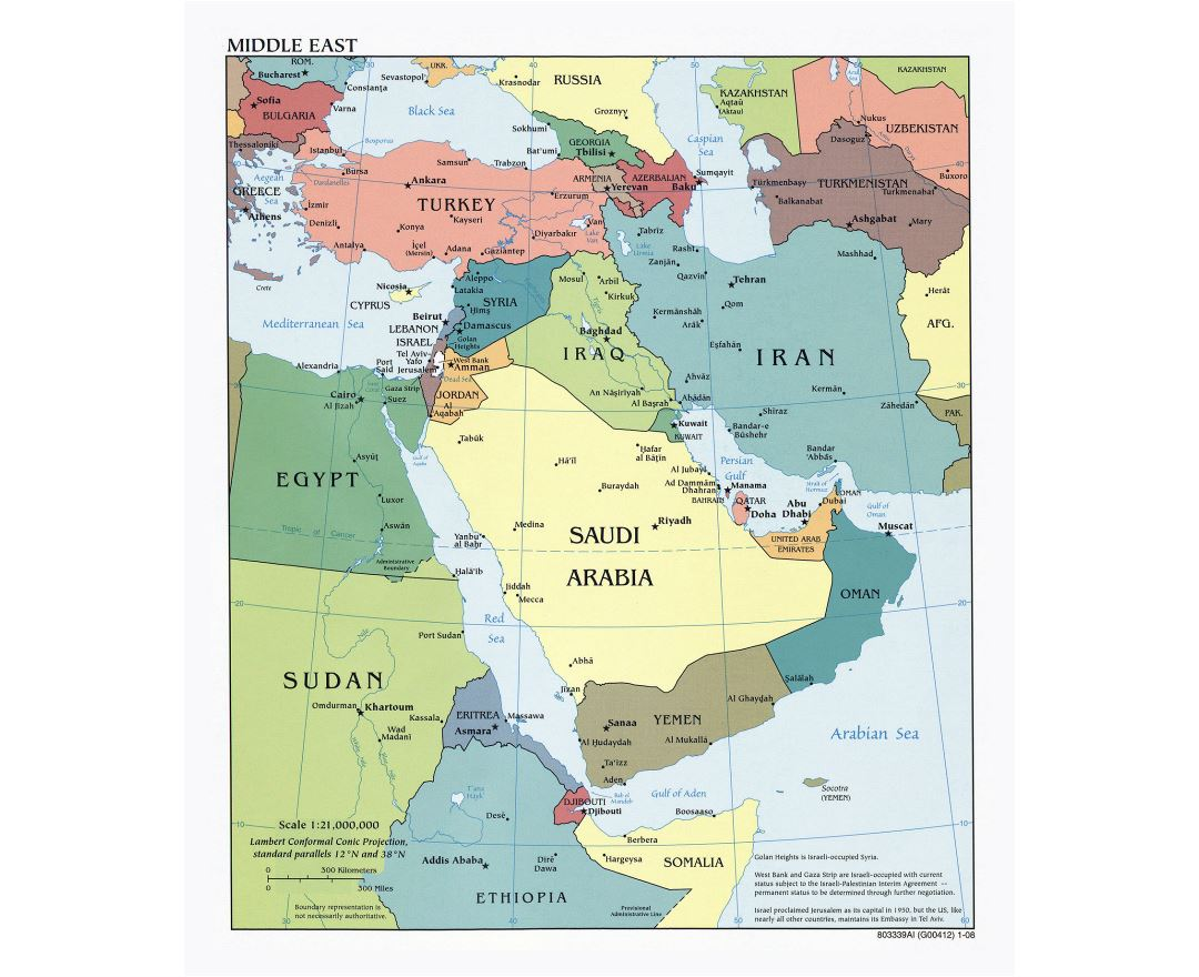 Large detailed political map of the Middle East with major cities and capitals - 2008