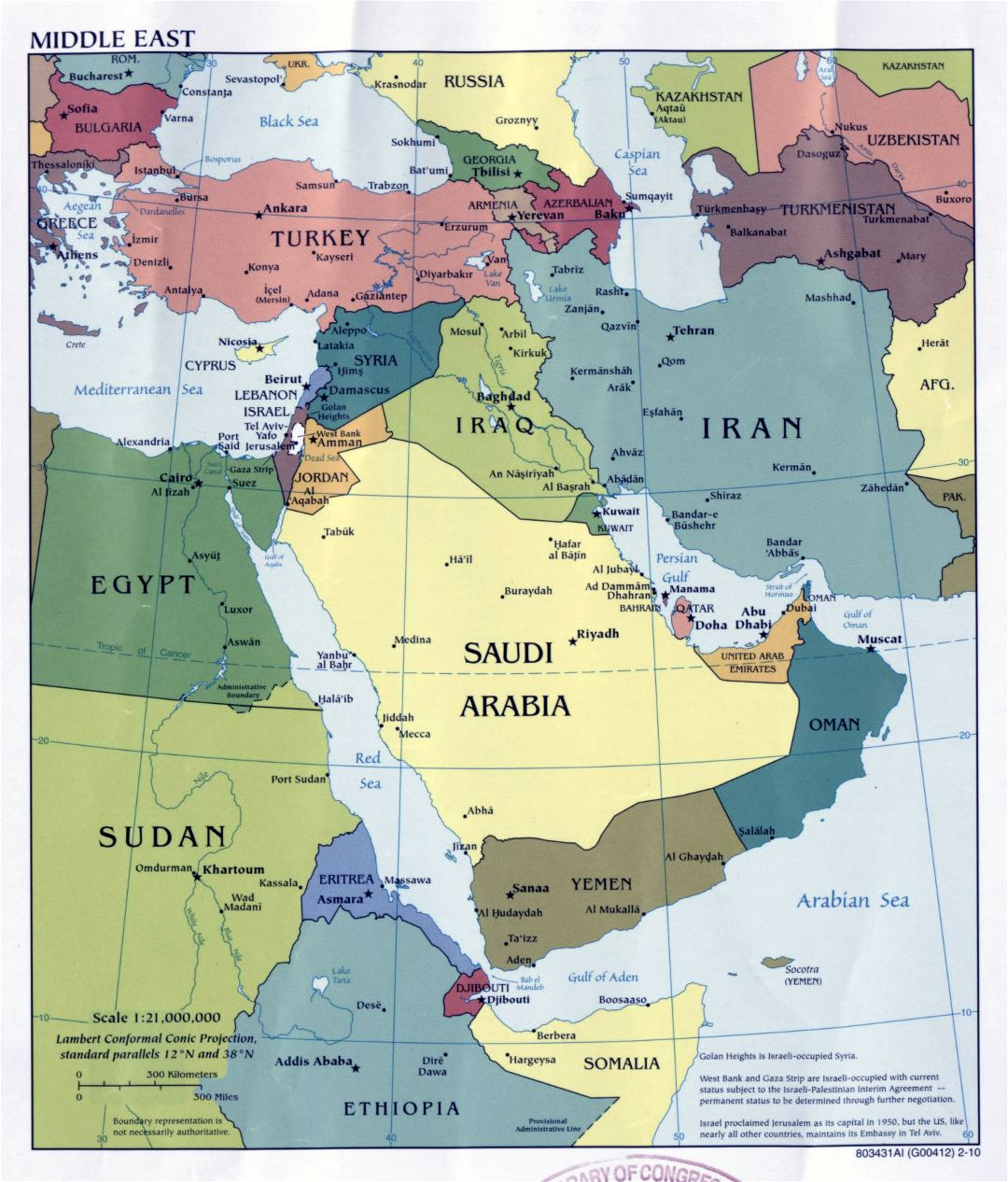 Large detailed political map of the Middle East with major cities and capitals - 2010