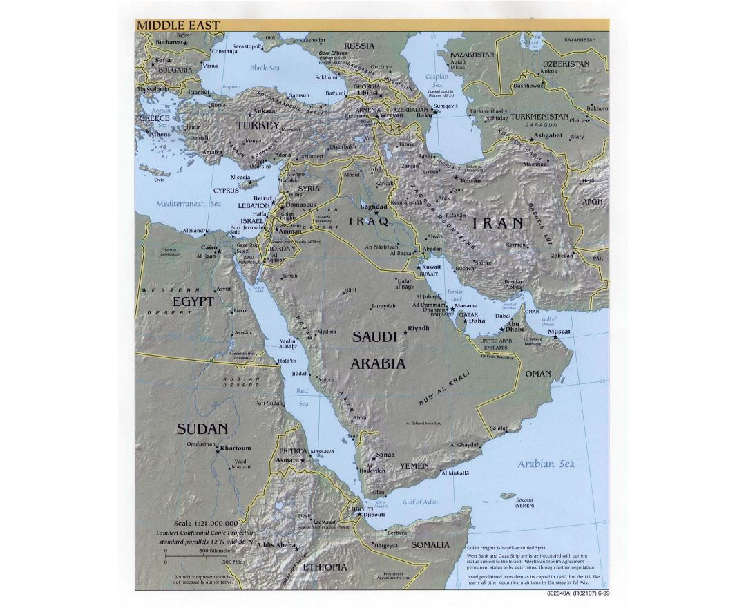 Large detailed political map of the Middle East with relief, major cities and capitals - 1999