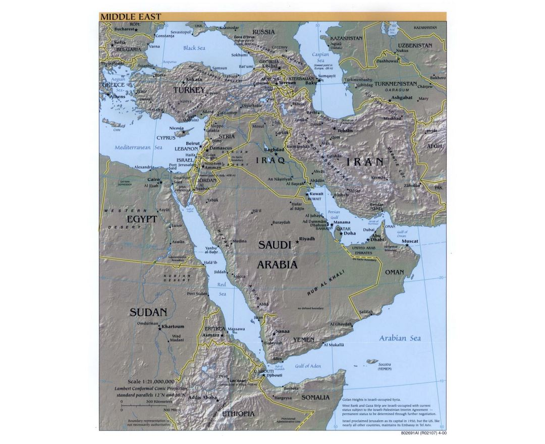 Large detailed political map of the Middle East with relief, major cities and capitals - 2000