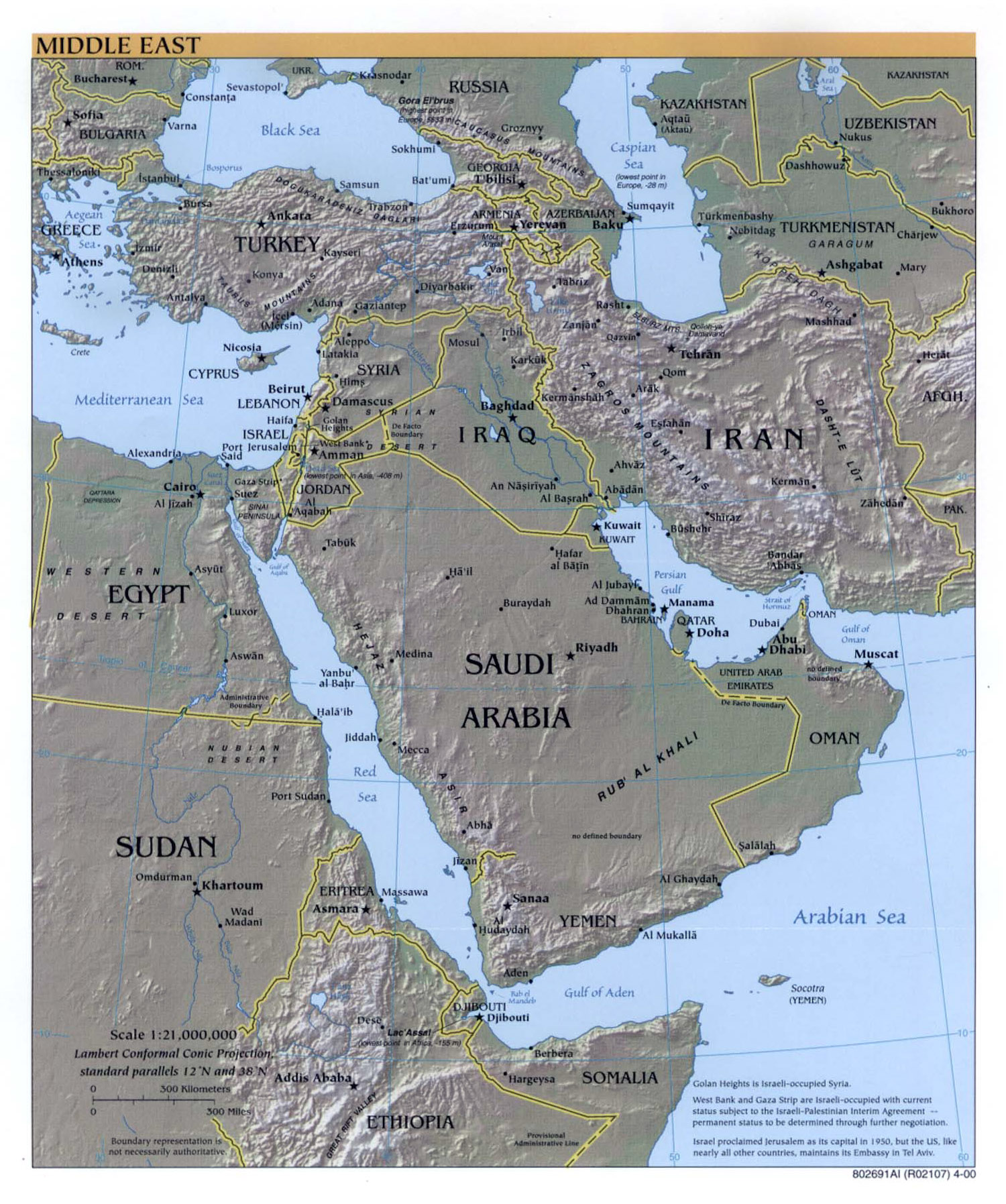 Large detailed political map of the Middle East with relief major
