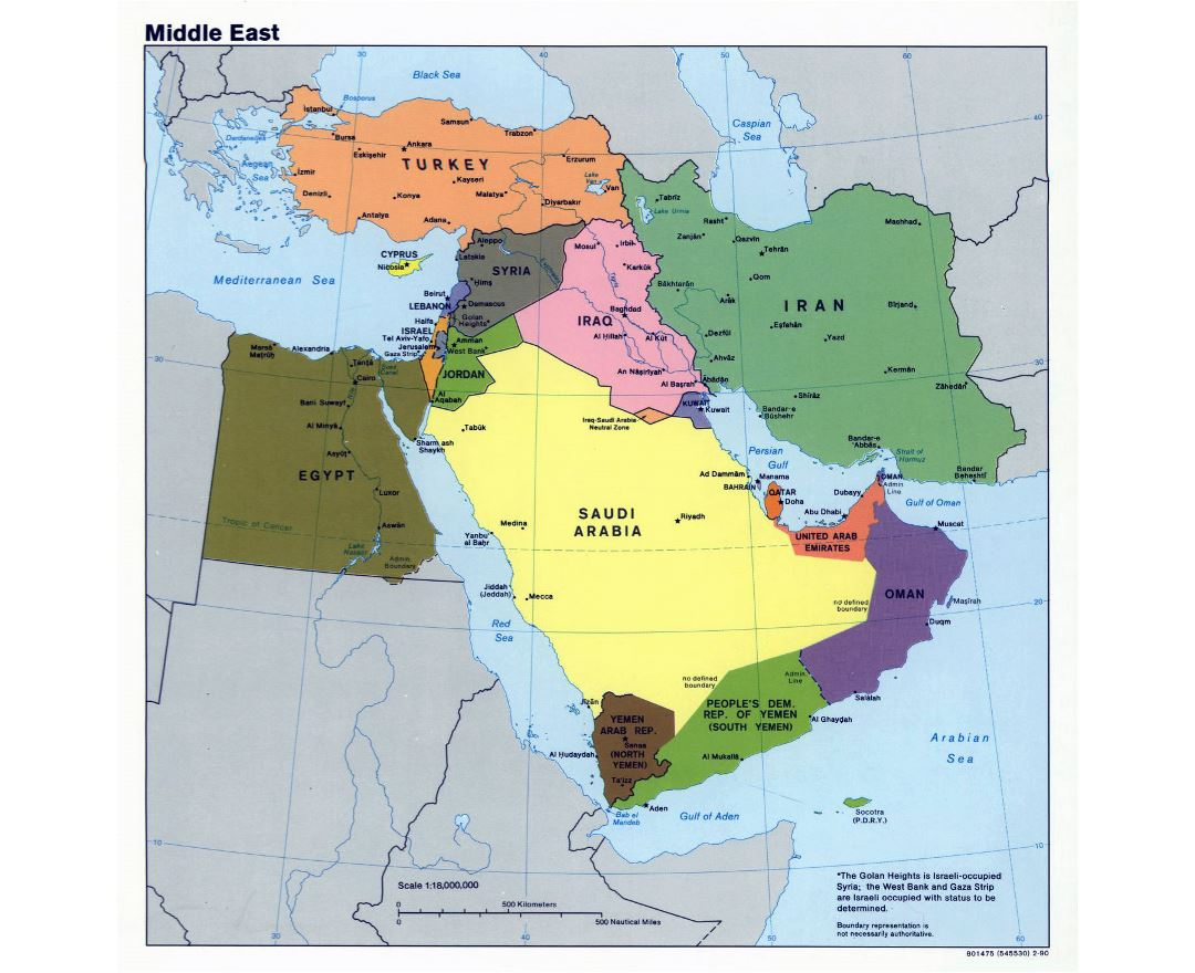 Large political map of the Middle East - 1990