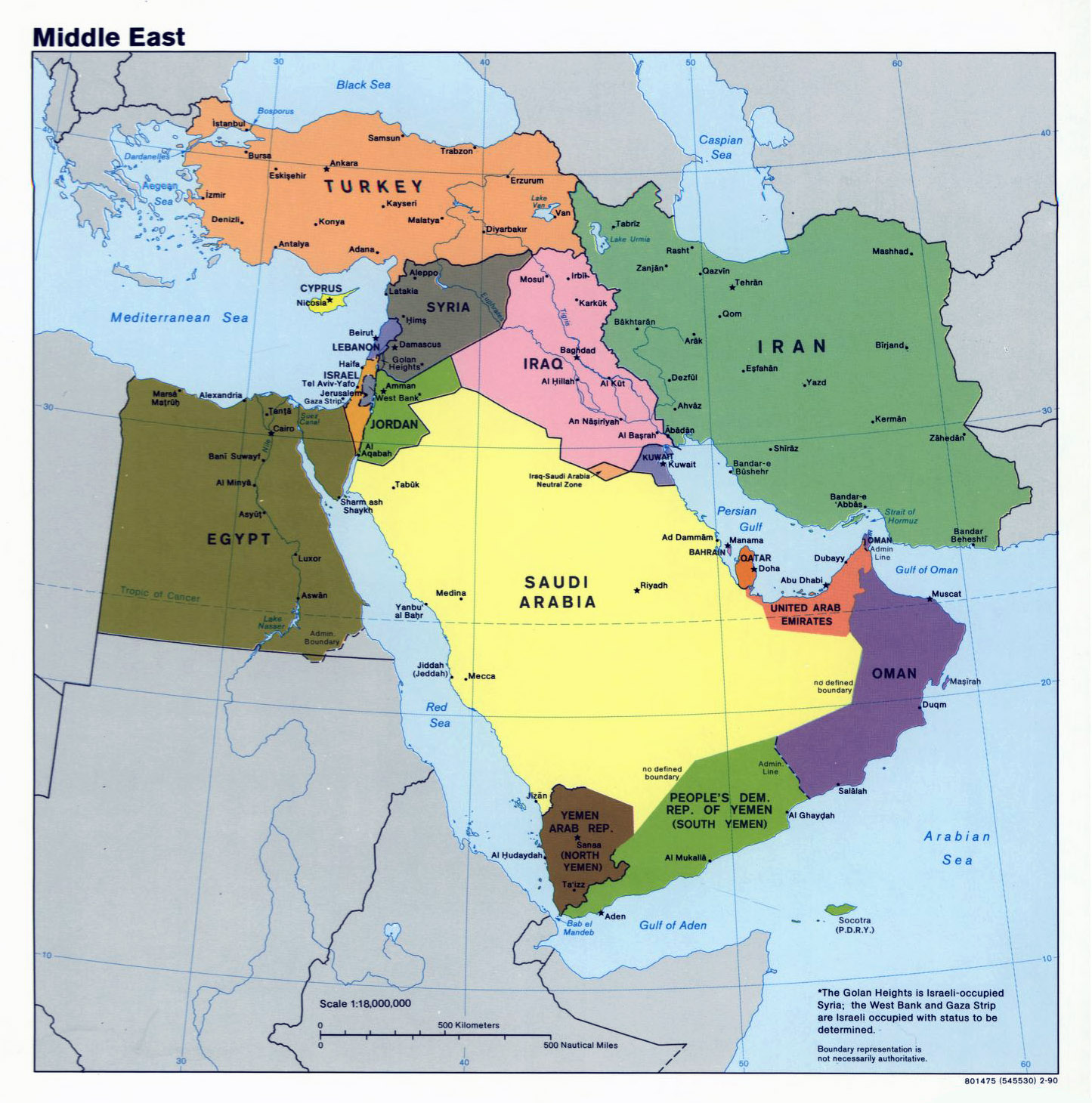 Large political map of the Middle East 1990 Middle East Asia