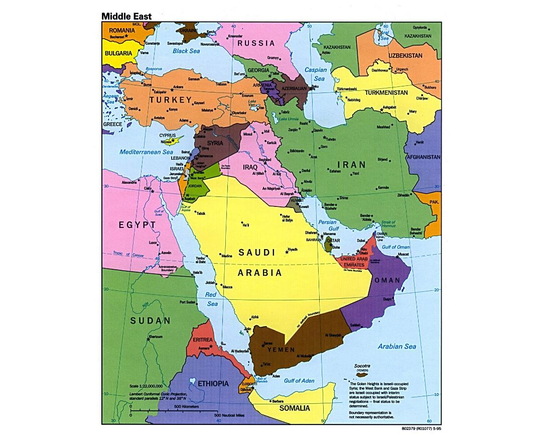 Large political map of the Middle East with major cities and capitals - 1995