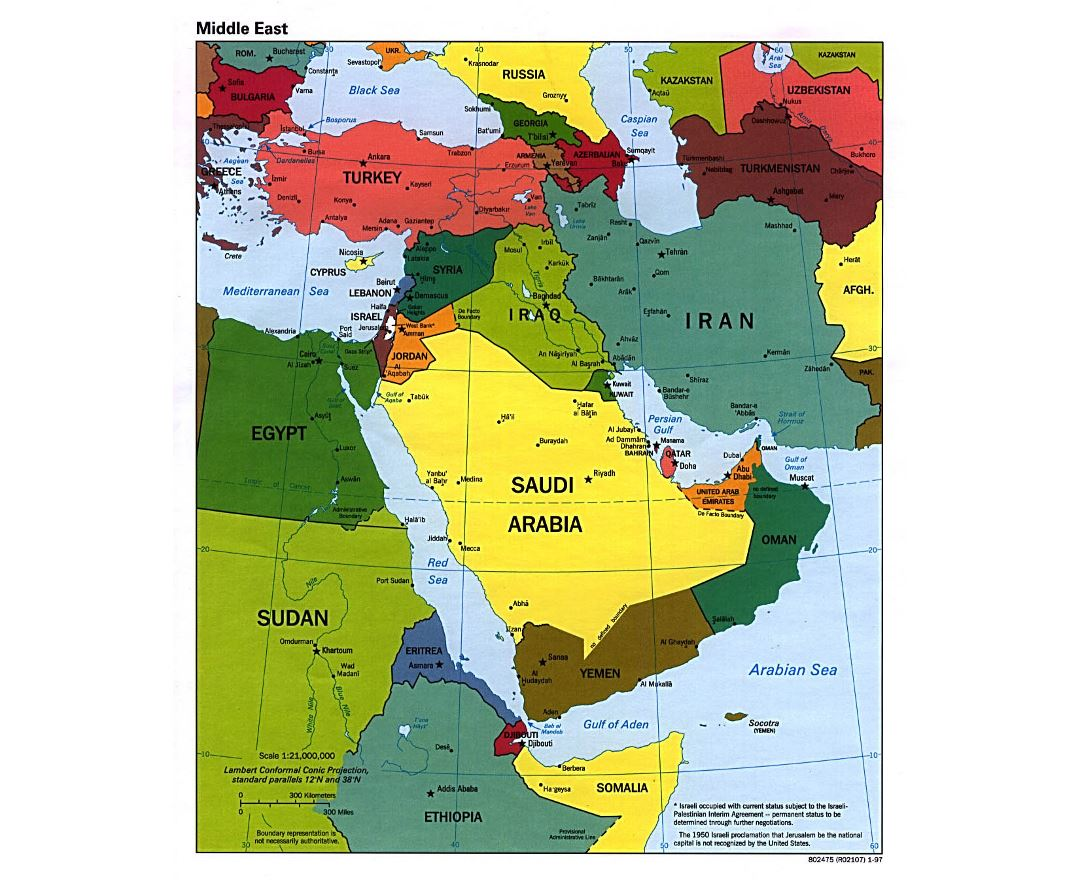 Large political map of the Middle East with major cities and capitals - 1997