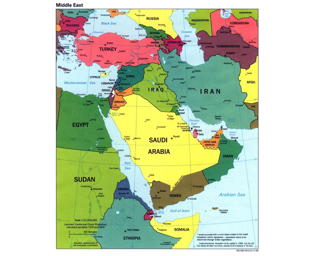 Large political map of the Middle East with major cities and capitals - 1998