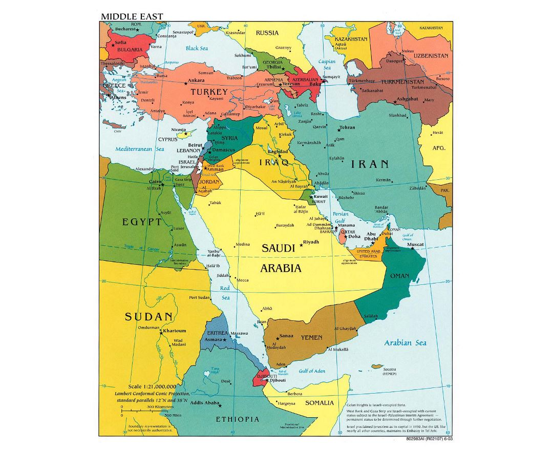 Large political map of the Middle East with major cities and capitals - 2003
