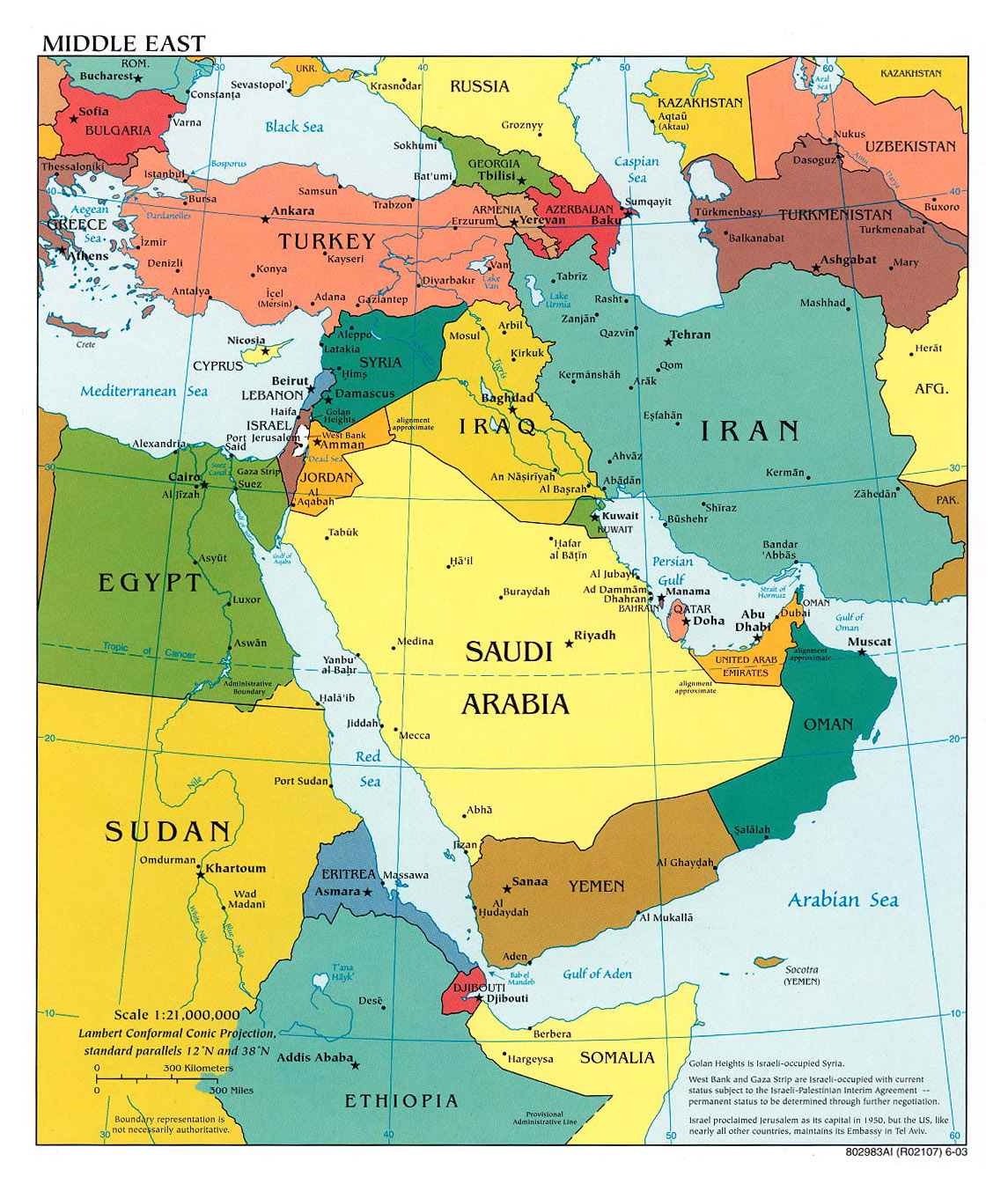 Large political map of the Middle East with major cities and