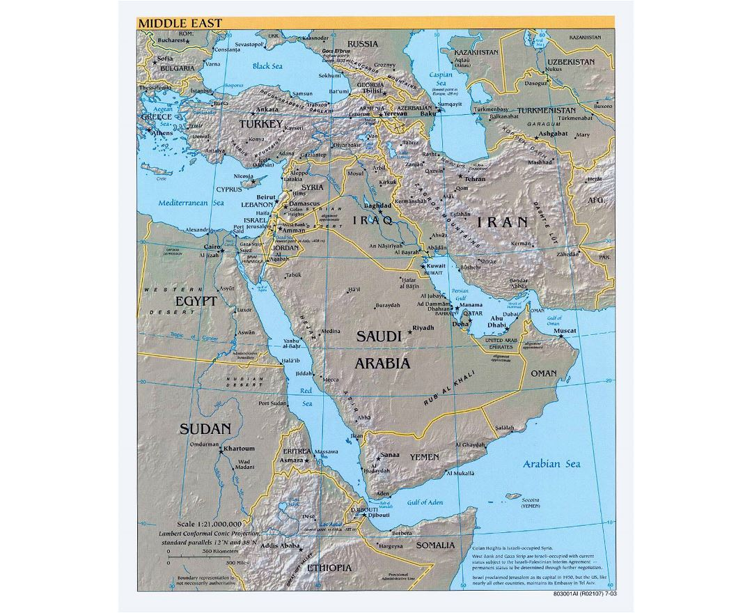 Large political map of the Middle East with relief, major cities and capitals - 2003