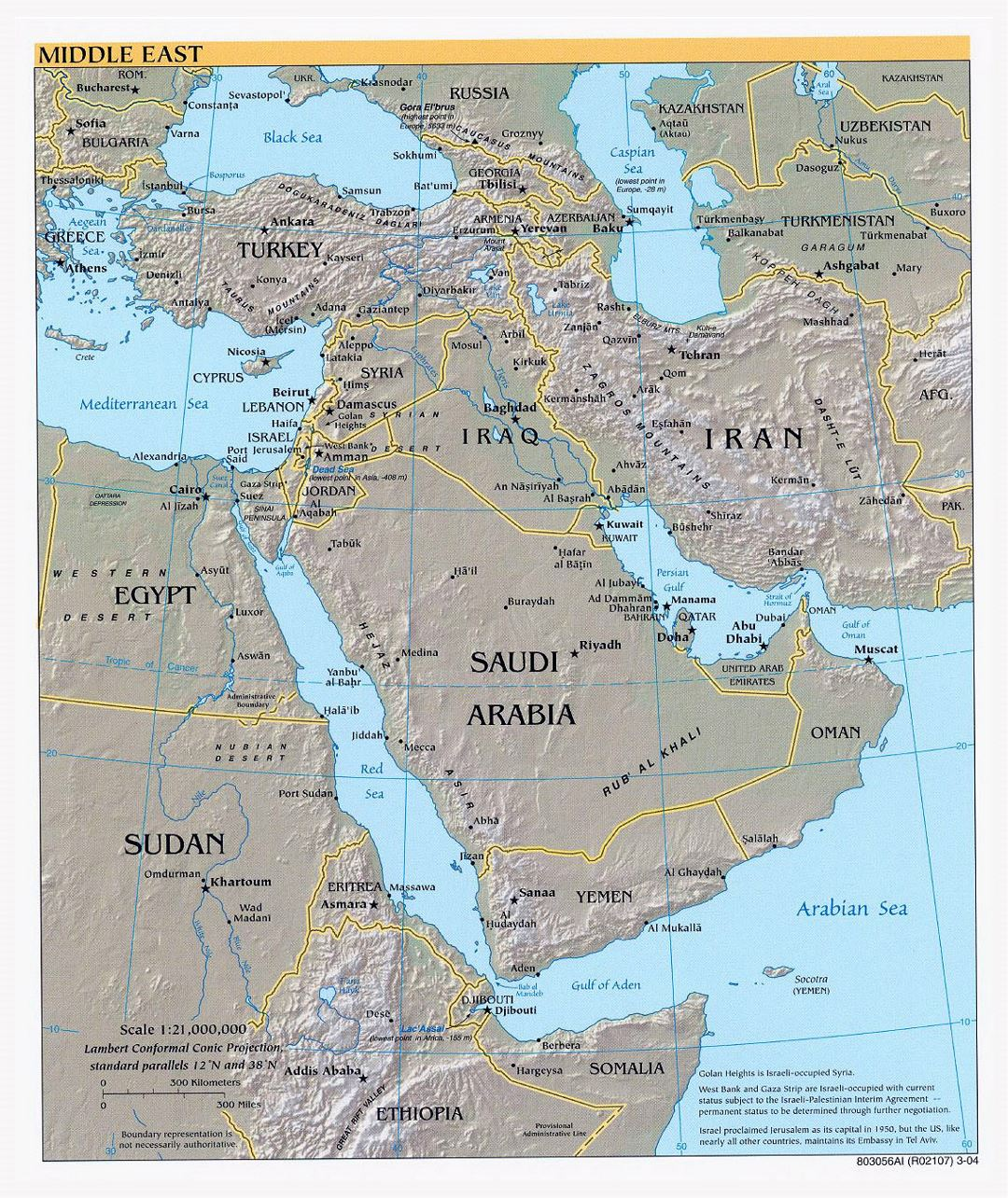 Large political map of the Middle East with relief, major cities and capitals - 2004