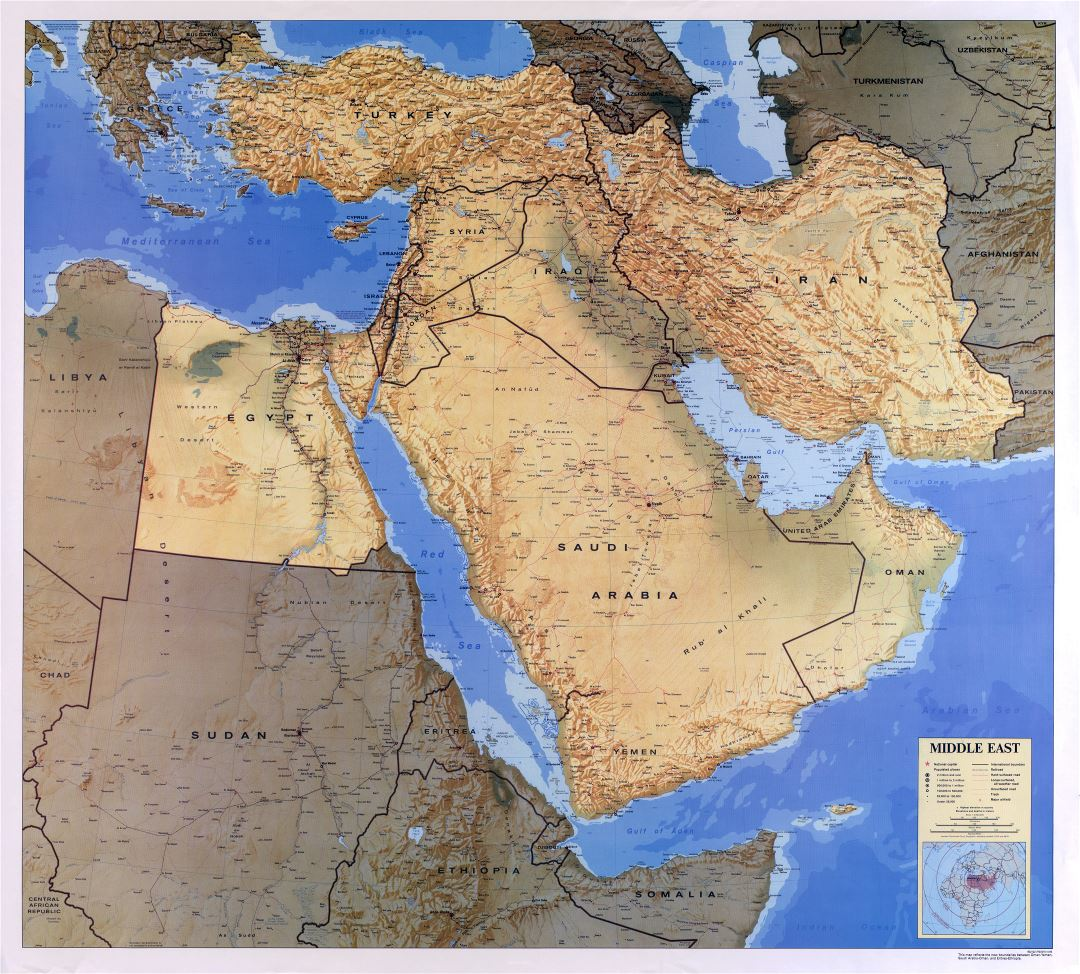 Large scale detailed map of the Middle East with relief, roads, railroads, cities and airports - 1993