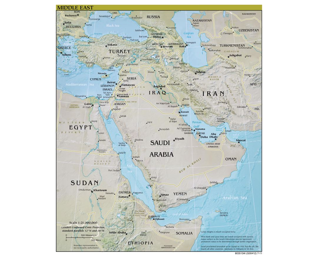 Large scale detailed political map of the Middle East with relief, major cities and capitals - 2011