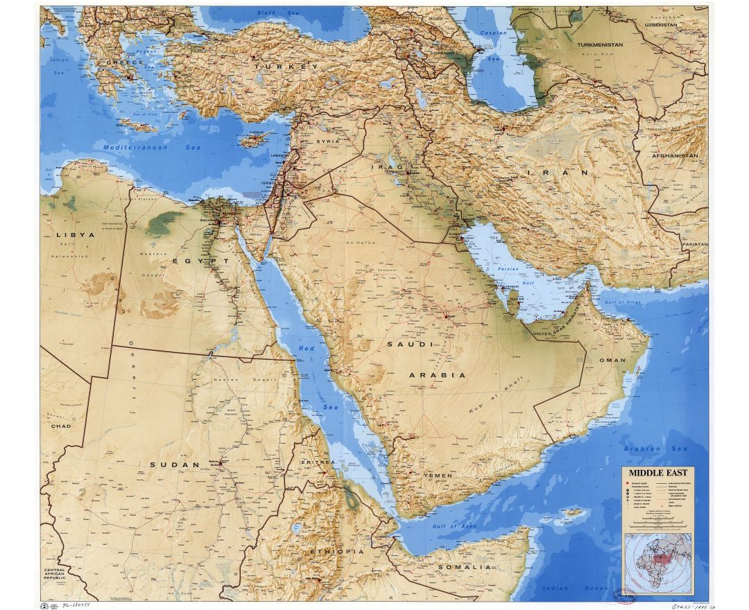 Large scale detailed political map of the Middle East with relief, roads, railroads, cities and airports - 1993