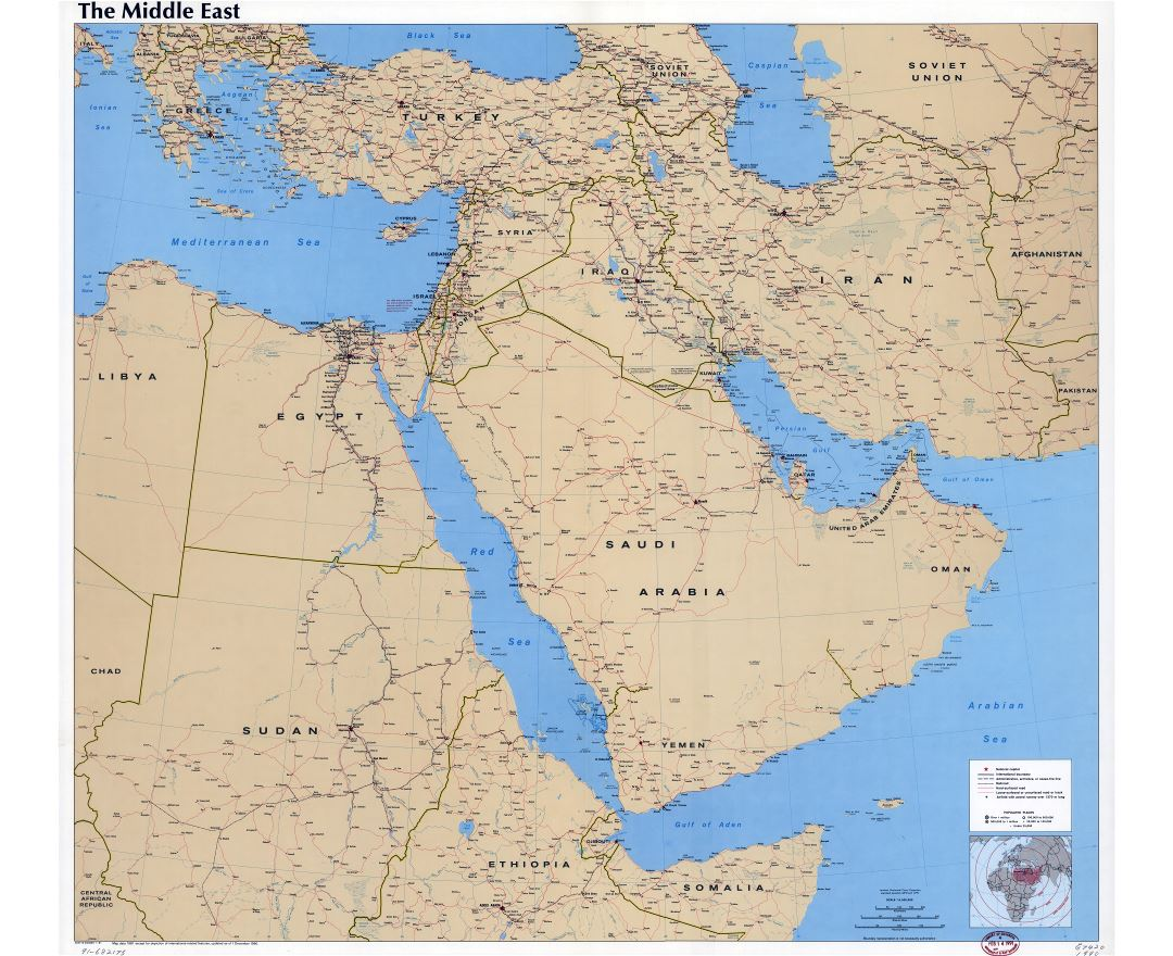Large scale detailed political map of the Middle East with roads, railroads, cities and airports - 1990
