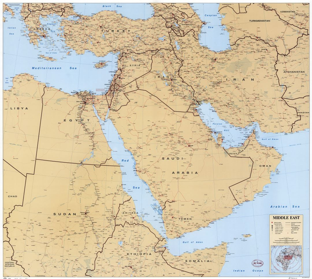 Large scale detailed political map of the Middle East with roads, railroads, cities and airports - 1993