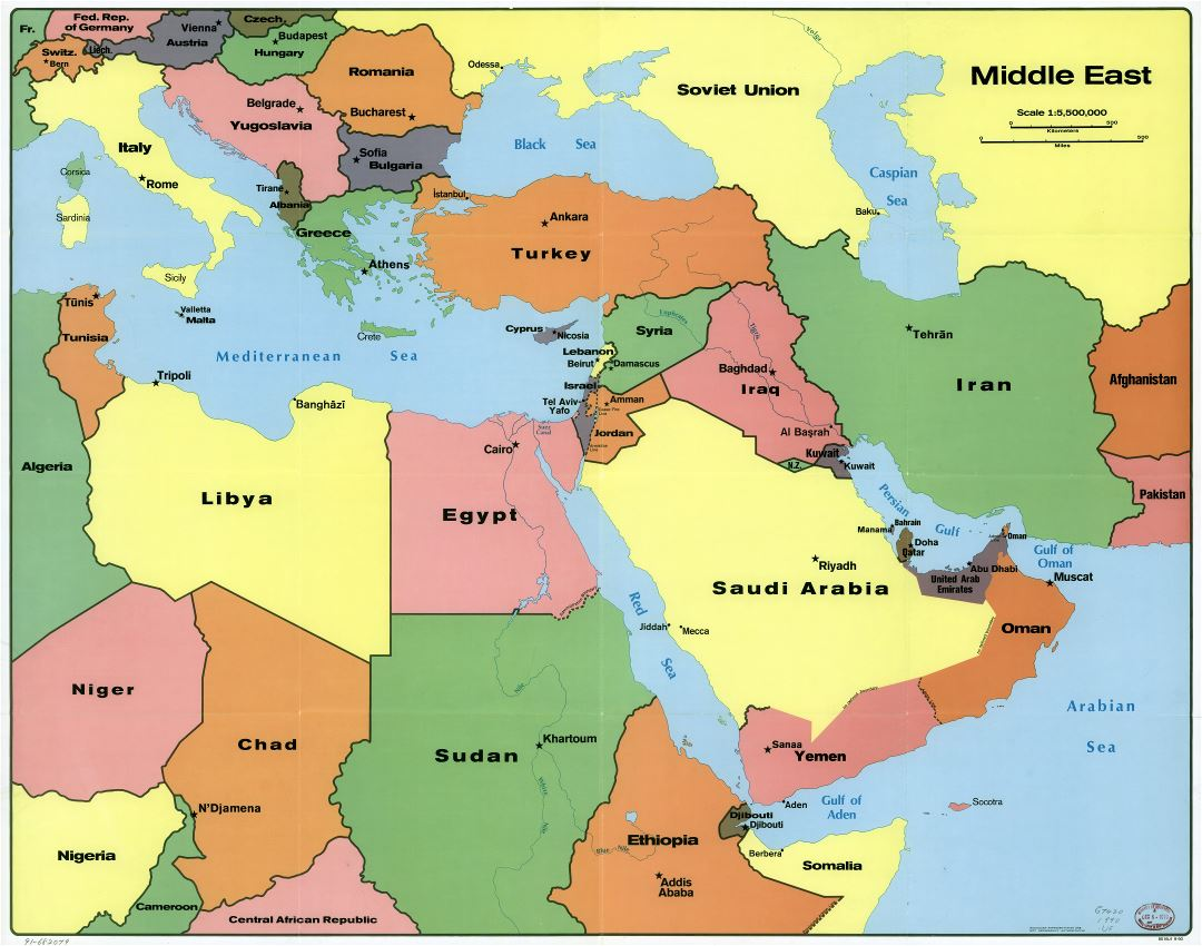 Large scale political map of the Middle East with capitals - 1990