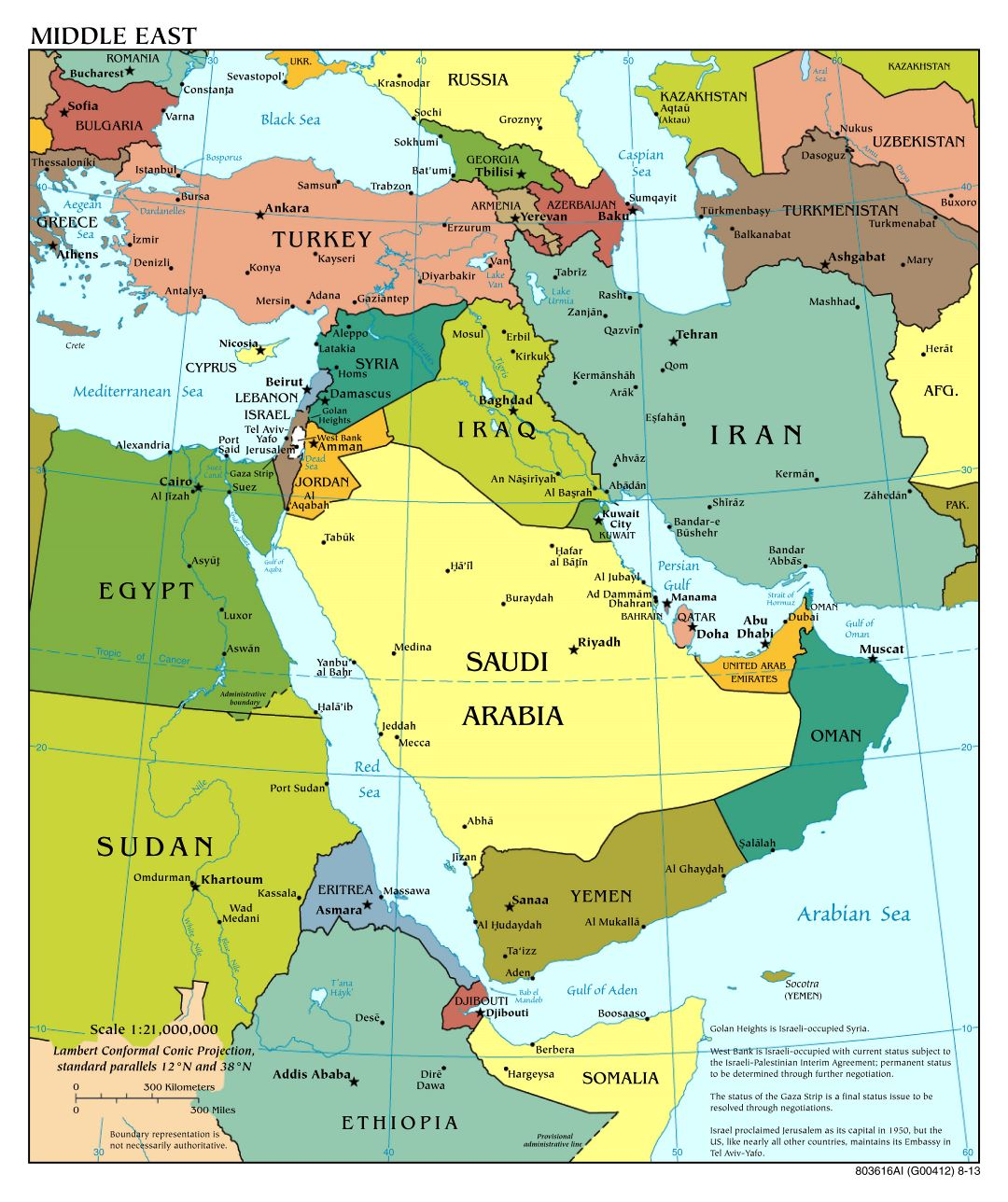 Large scale political map of the Middle East with major cities - 2013