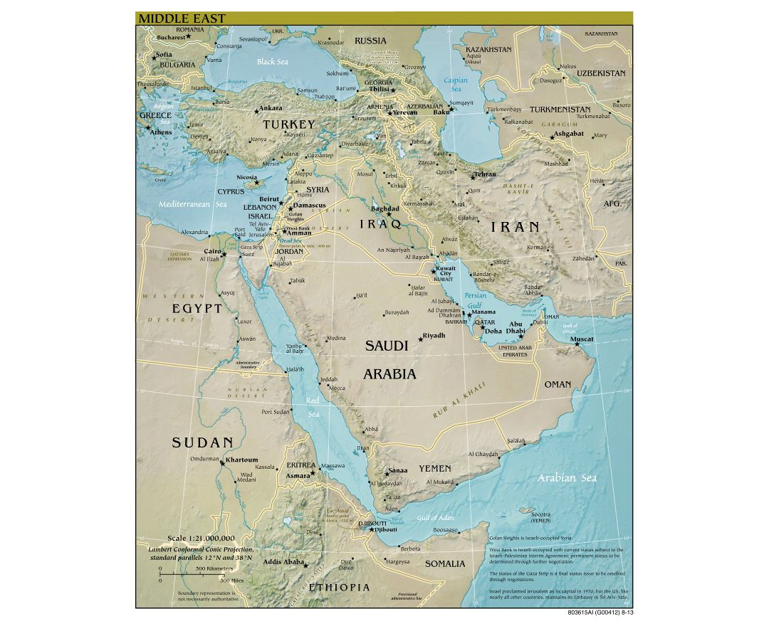 Large scale political map of the Middle East with relief and major cities - 2013