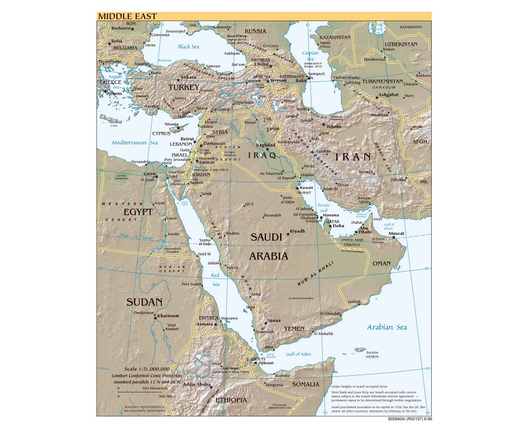 Large scale political map of the Middle East with relief, major cities and capitals - 1999