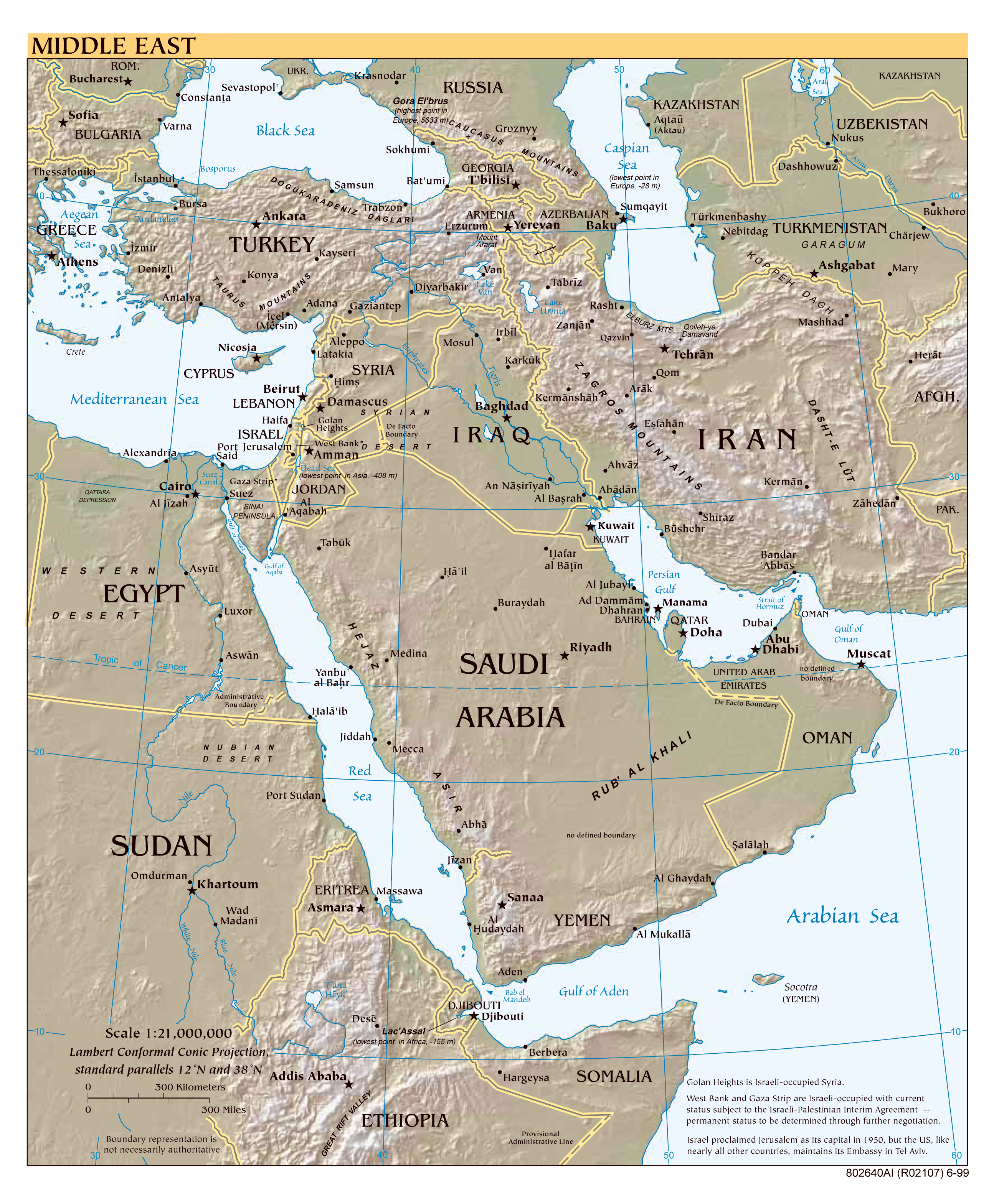 Middle east map of cities