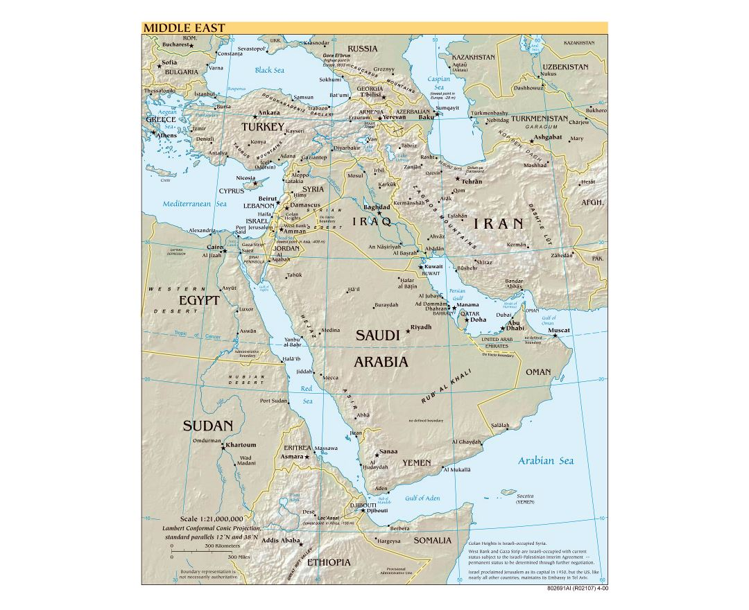Large scale political map of the Middle East with relief, major cities and capitals - 2000