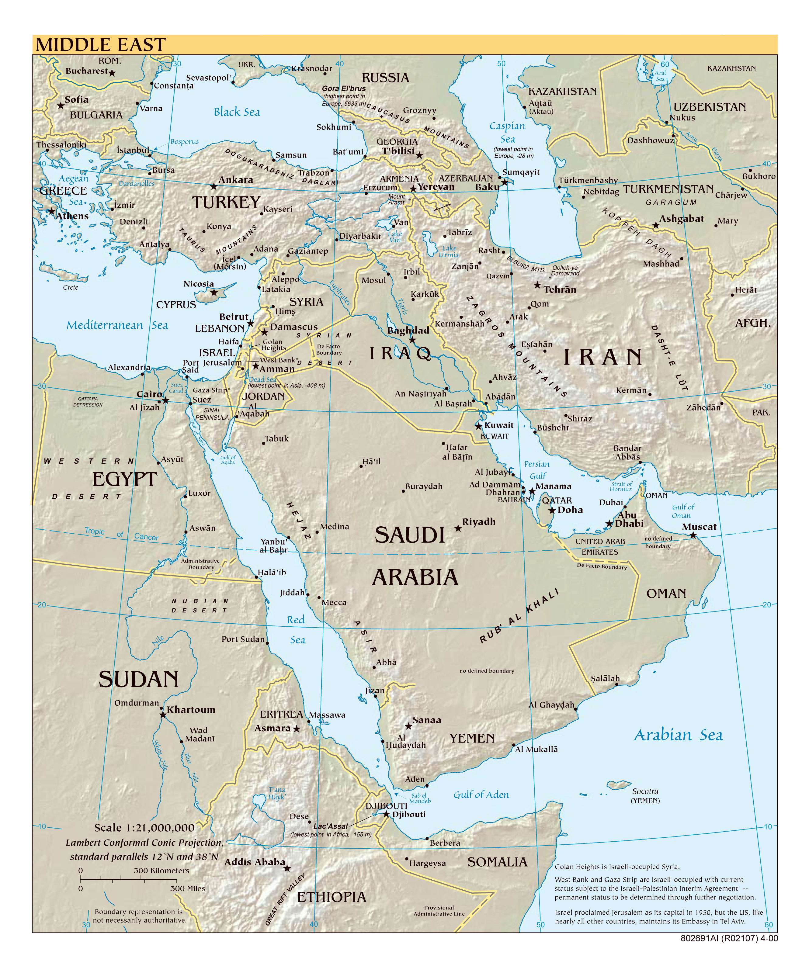 Large scale political map of the Middle East with relief major