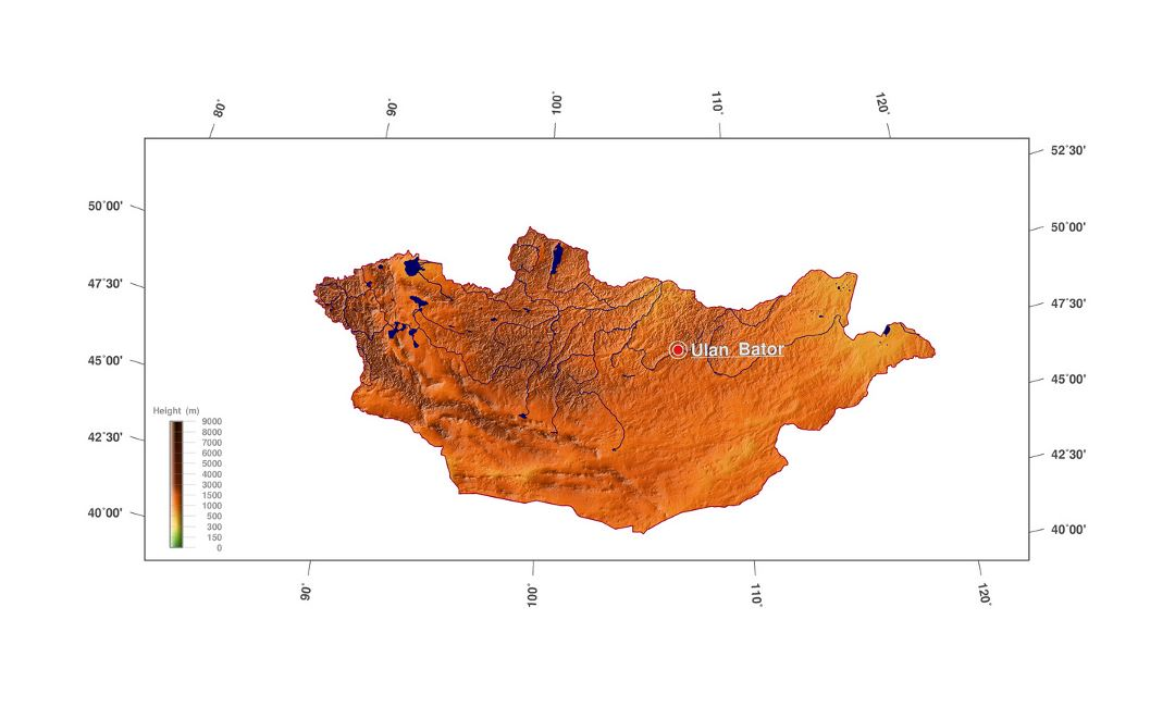 Detailed elevation map of Mongolia