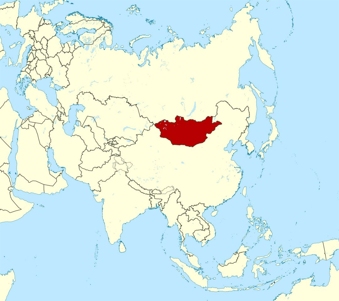 Detailed location map of Mongolia in Asia