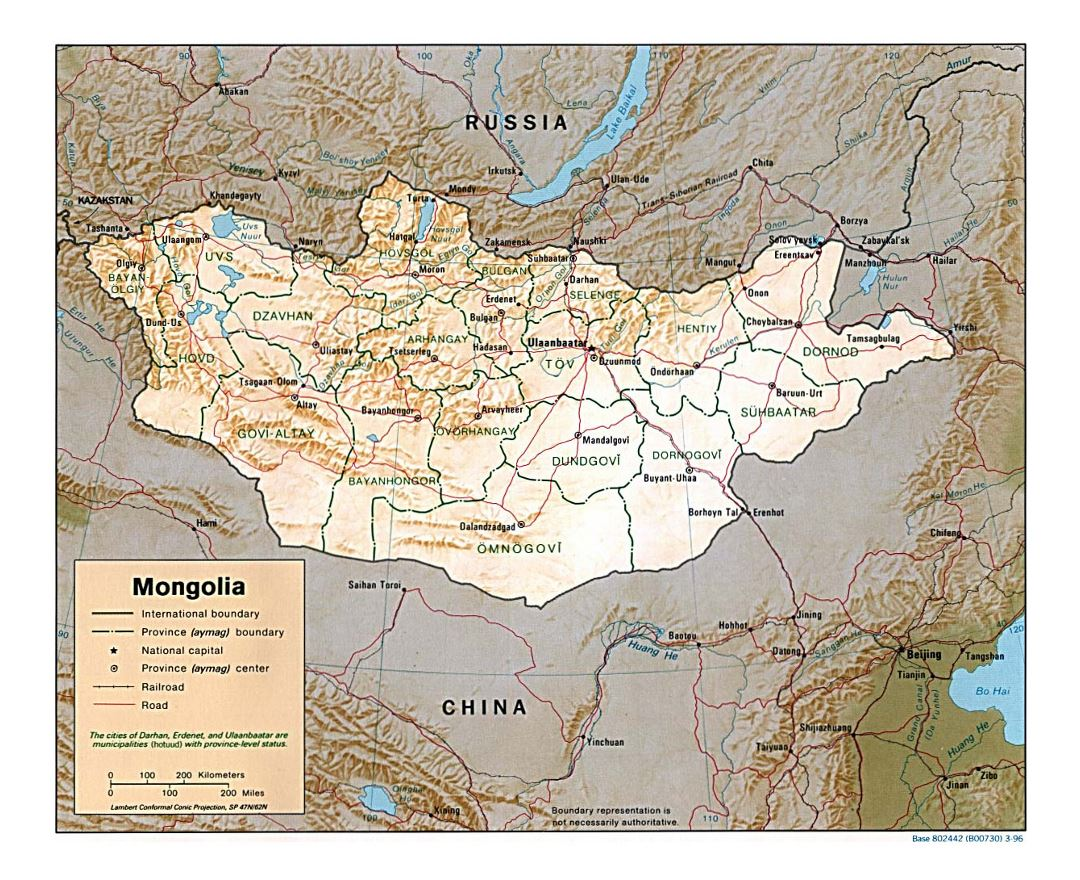 Detailed political and administrative map of Mongolia with relief, roads, railroads and major cities - 1996