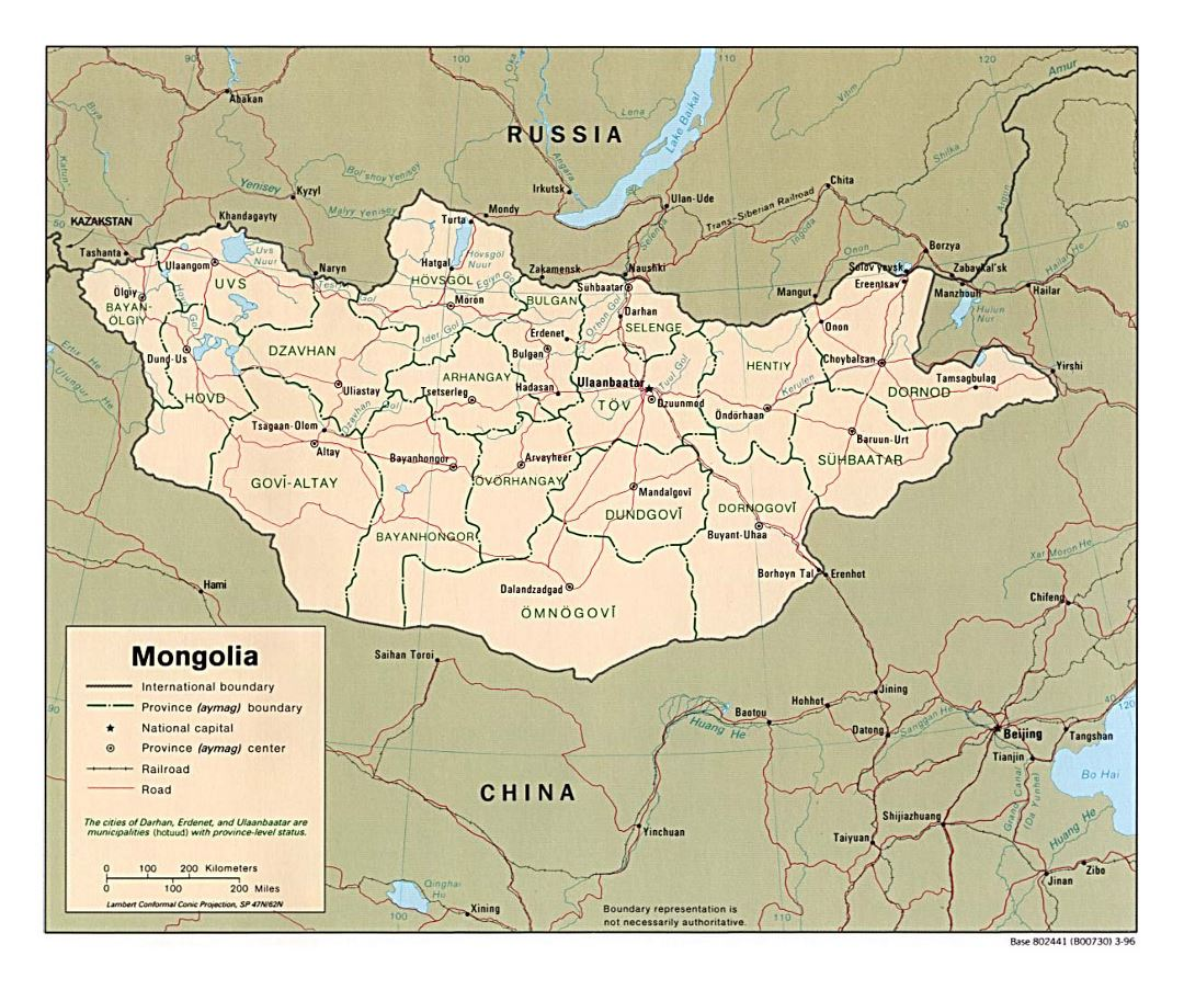 Detailed political and administrative map of Mongolia with roads, railroads and major cities - 1996