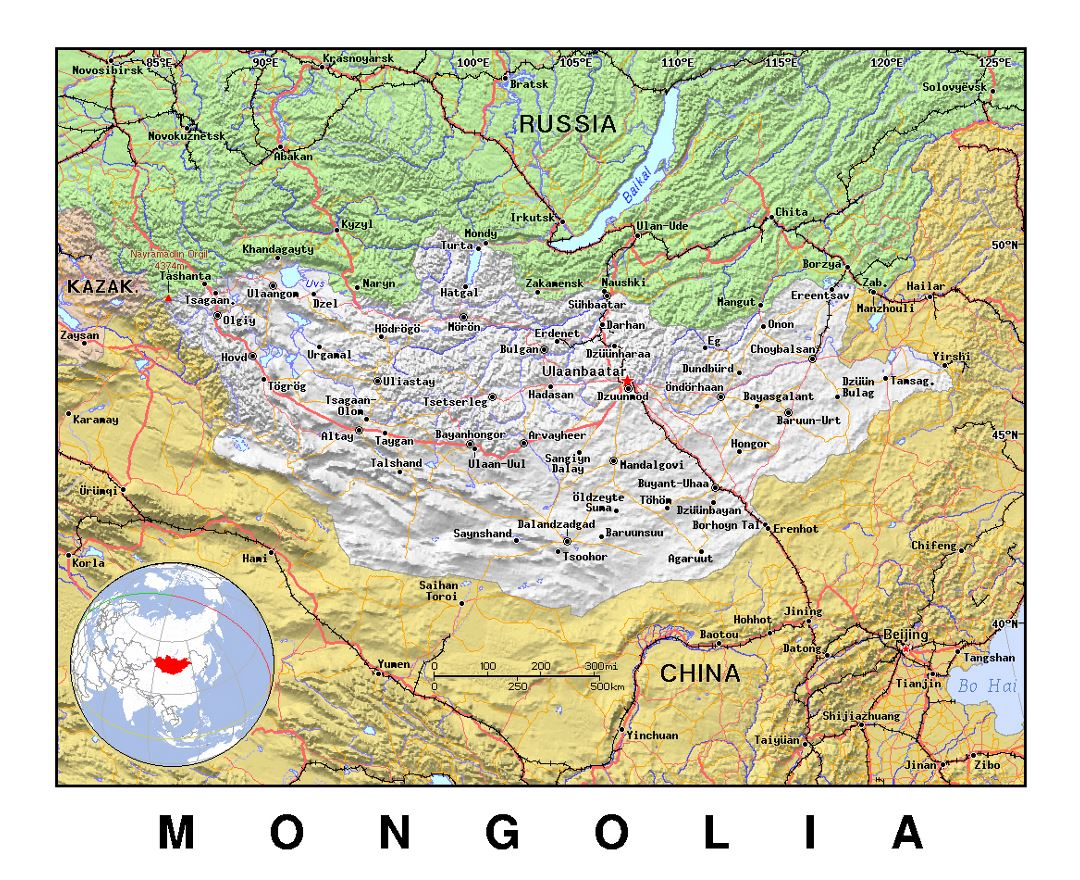 Detailed political map of Mongolia with relief