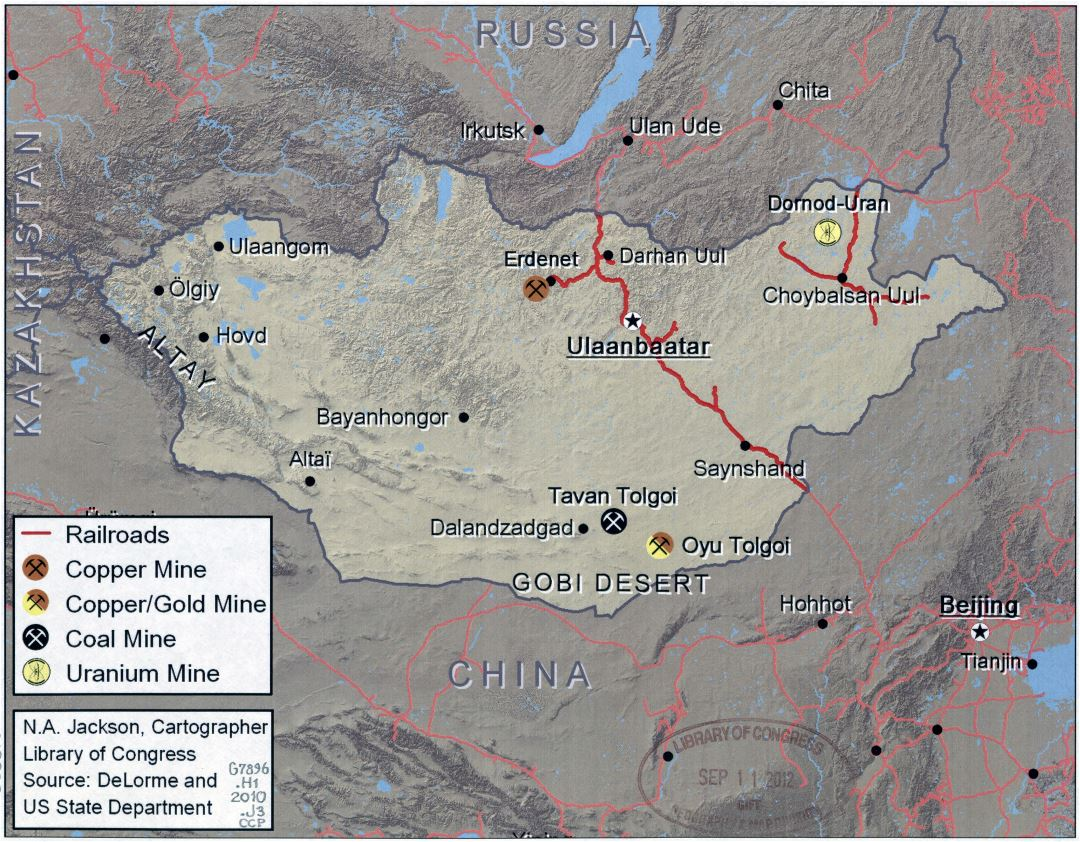 Large detailed map of Mongolia with ore mines, coal mines and railroads