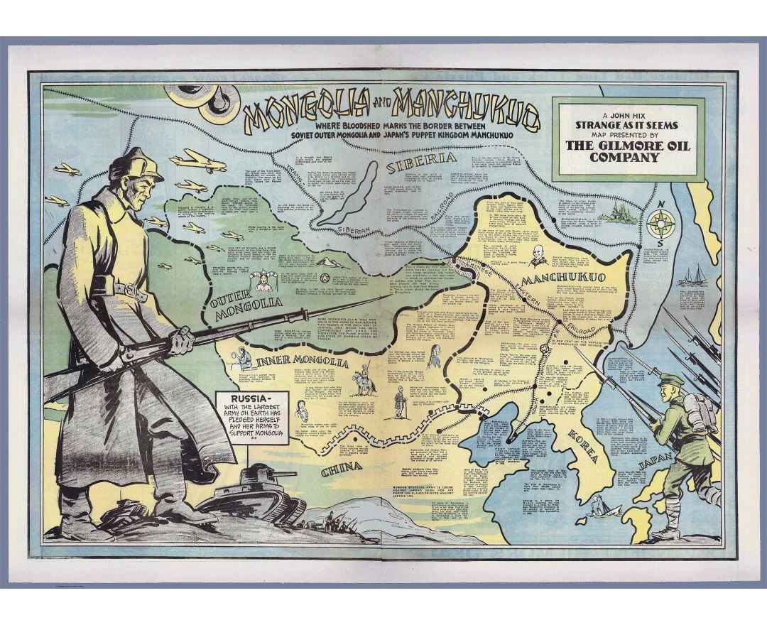 Large detailed old map of Mongolia and Manchukuo - 1936
