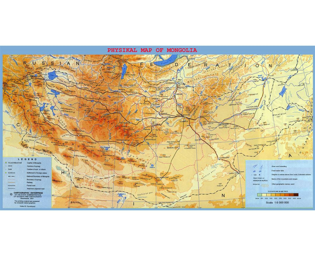 Large detailed physical map of Mongolia with roads, railroads, cities and other marks