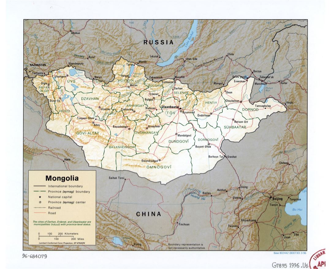 Large detailed political and administrative map of Mongolia with relief, roads, railroads and major cities - 1996