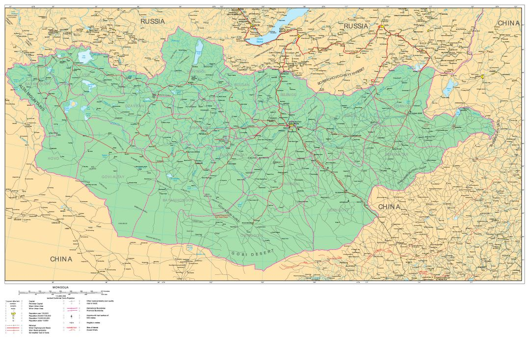 Large detailed road map of Mongolia with cities and other marks