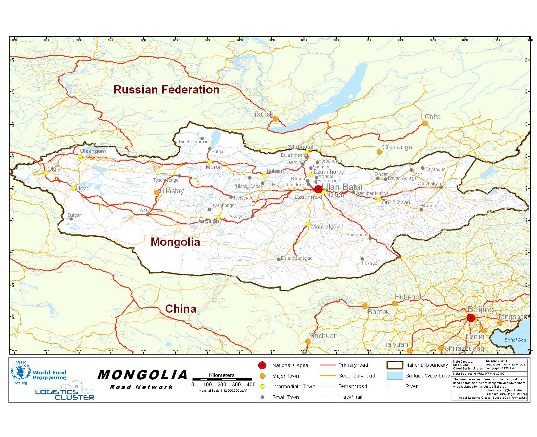 Large detailed road network map of Mongolia
