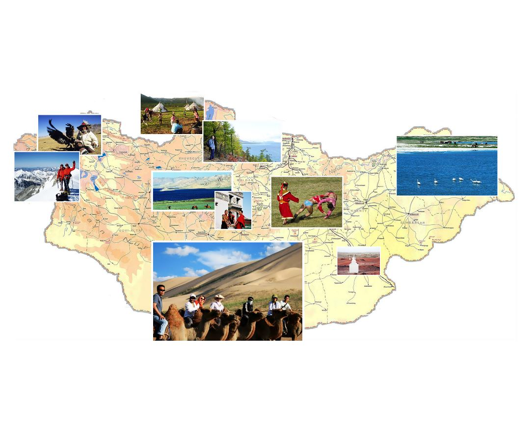 Large map of Mongolia with photos