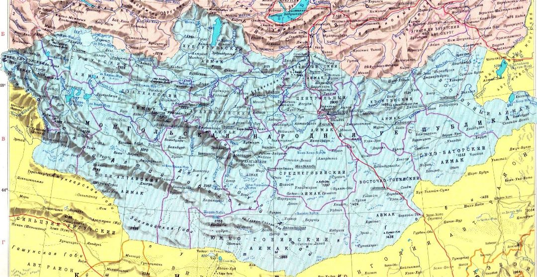 Large political and administrative map of Mongolia with relief, roads and cities in russian