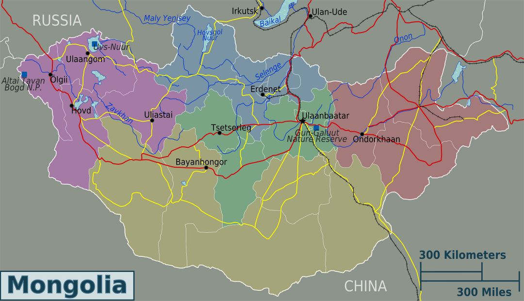 Large regions map of Mongolia