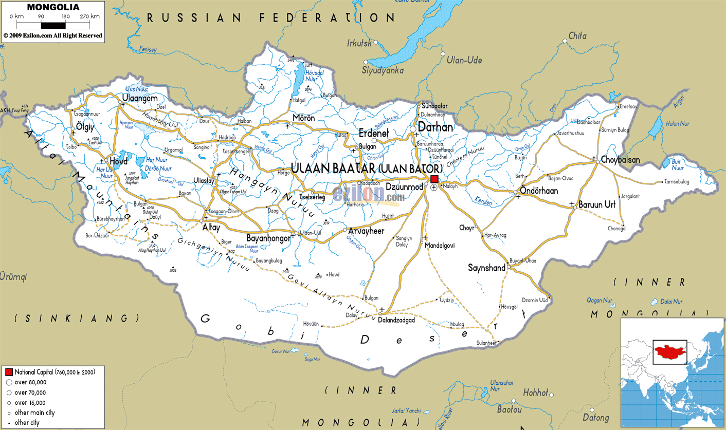 Large Road Map Of Mongolia With Cities And Airports Mongolia - Map of mongolia