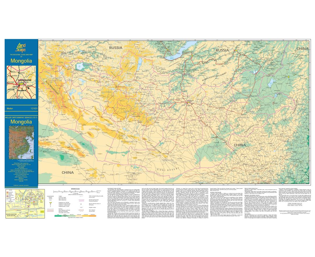 Large scale elevation map of Mongolia with all roads, cities and other marks