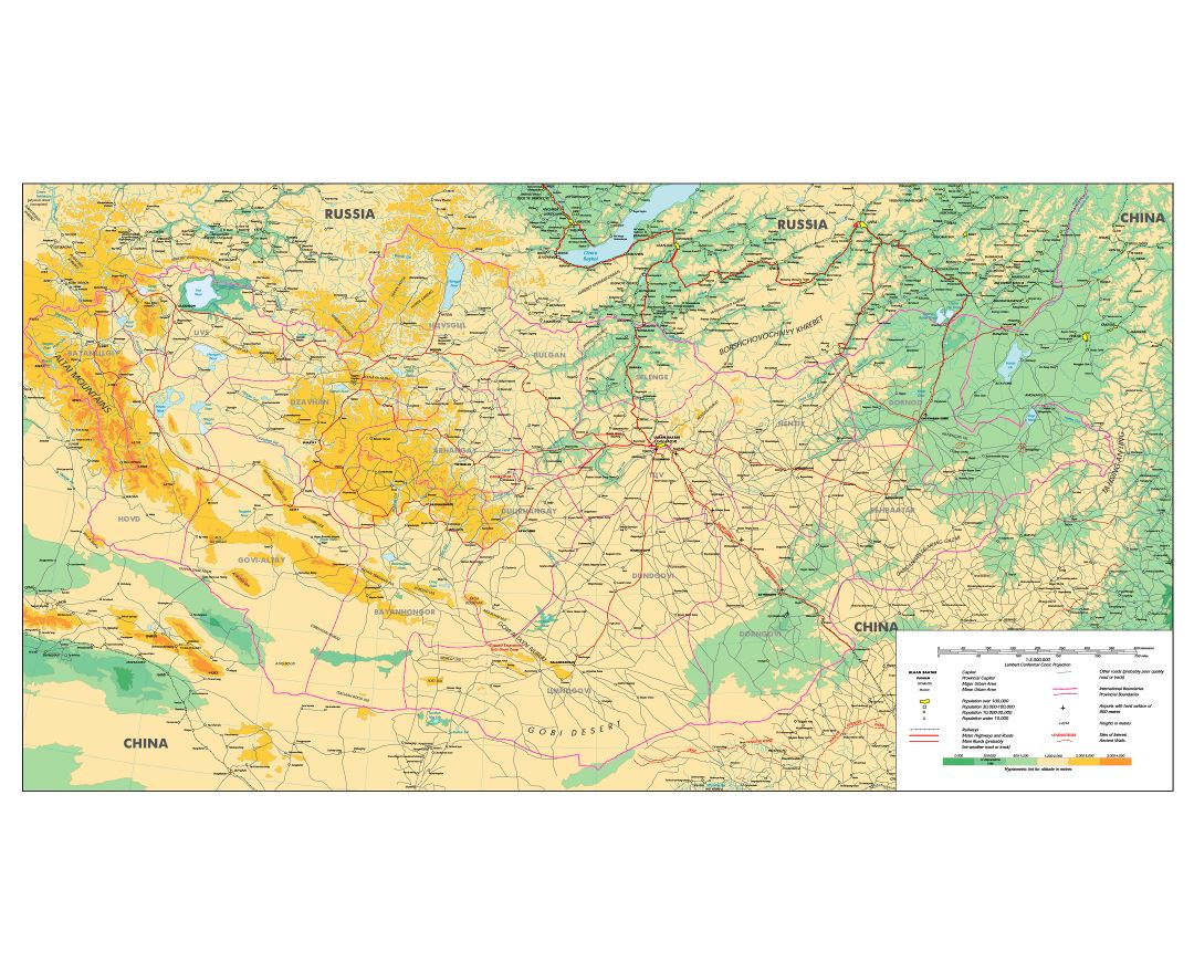 Large scale physical map of Mongolia with roads, railroads, cities and other marks