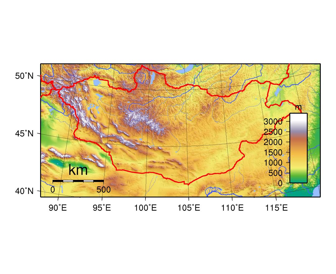 Large topographical map of Mongolia