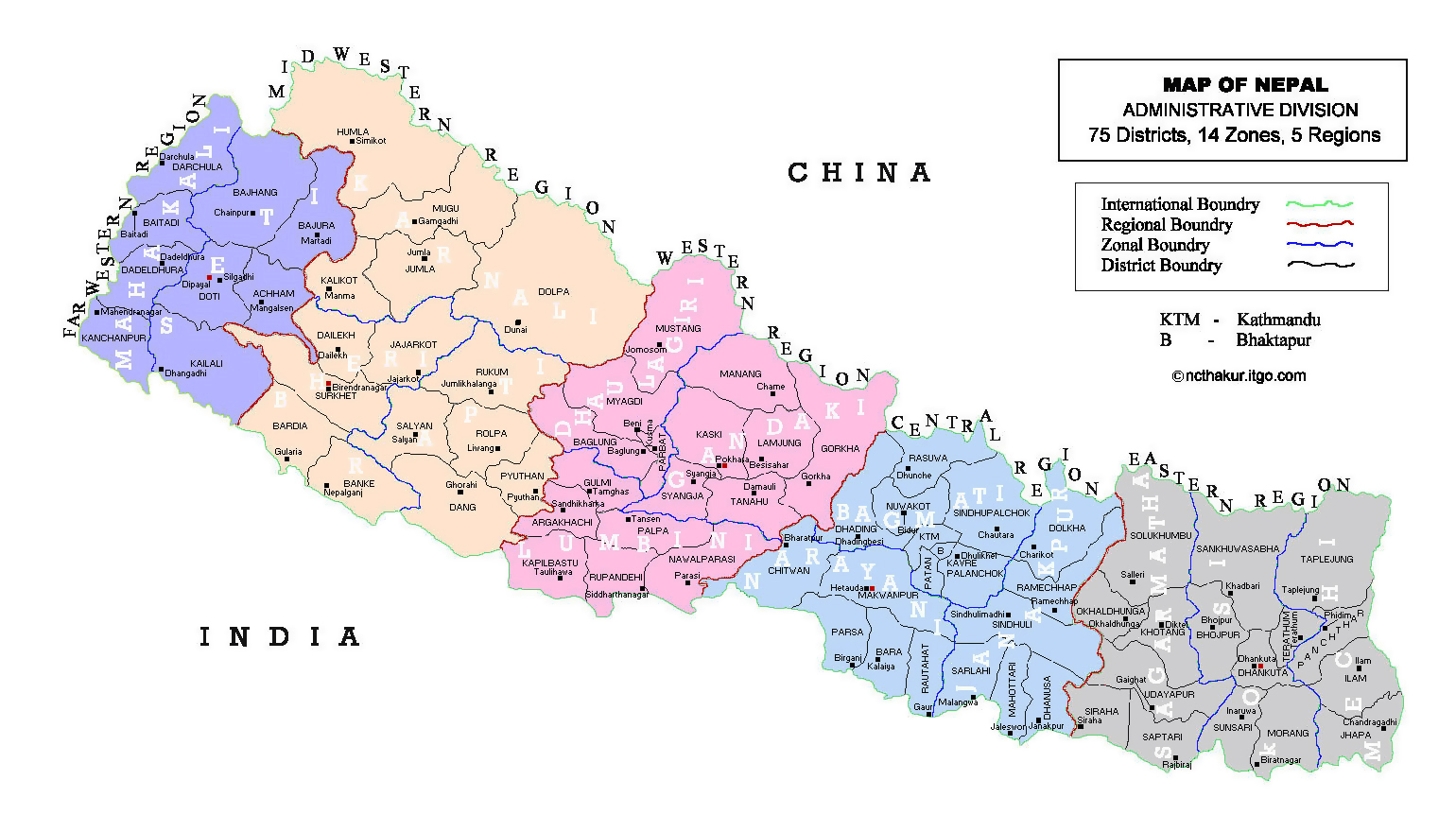 Detailed administrative divisions map of Nepal | Nepal ...