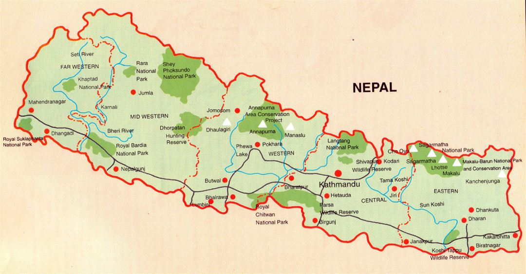 Detailed map of Nepal with national parks, roads and major cities